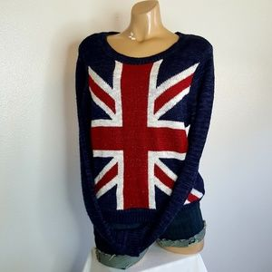Rebellious One red white and blue sweater size L